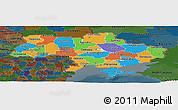 Political Panoramic Map of Ukraine, darken