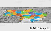 Political Panoramic Map of Ukraine, desaturated