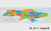 Political Panoramic Map of Ukraine, lighten