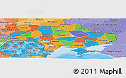 Political Panoramic Map of Ukraine, political shades outside