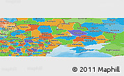 Political Panoramic Map of Ukraine