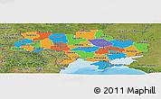 Political Panoramic Map of Ukraine, satellite outside, bathymetry sea