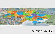 Political Panoramic Map of Ukraine, semi-desaturated