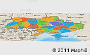 Political Panoramic Map of Ukraine, shaded relief outside, bathymetry sea