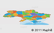 Political Panoramic Map of Ukraine, single color outside