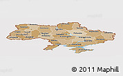 Political Shades Panoramic Map of Ukraine, cropped outside