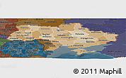 Political Shades Panoramic Map of Ukraine, darken