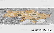 Political Shades Panoramic Map of Ukraine, desaturated