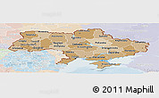 Political Shades Panoramic Map of Ukraine, lighten