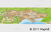 Political Shades Panoramic Map of Ukraine, physical outside