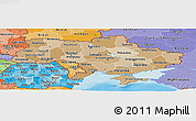 Political Shades Panoramic Map of Ukraine