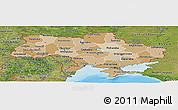 Political Shades Panoramic Map of Ukraine, satellite outside, bathymetry sea