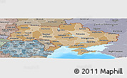 Political Shades Panoramic Map of Ukraine, semi-desaturated, land only