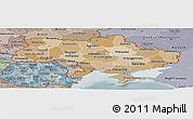 Political Shades Panoramic Map of Ukraine, semi-desaturated