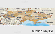 Political Shades Panoramic Map of Ukraine, shaded relief outside, bathymetry sea