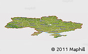 Satellite Panoramic Map of Ukraine, cropped outside