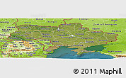 Satellite Panoramic Map of Ukraine, physical outside, satellite sea