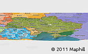 Satellite Panoramic Map of Ukraine, political shades outside, satellite sea