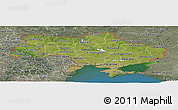 Satellite Panoramic Map of Ukraine, semi-desaturated, land only