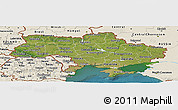 Satellite Panoramic Map of Ukraine, shaded relief outside, satellite sea