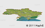 Satellite Panoramic Map of Ukraine, single color outside