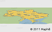 Savanna Style Panoramic Map of Ukraine, single color outside
