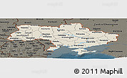 Shaded Relief Panoramic Map of Ukraine, darken