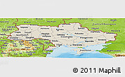 Shaded Relief Panoramic Map of Ukraine, physical outside