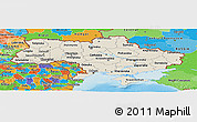 Shaded Relief Panoramic Map of Ukraine, political outside, shaded relief sea