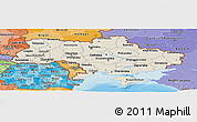 Shaded Relief Panoramic Map of Ukraine, political shades outside, shaded relief sea
