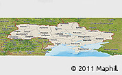 Shaded Relief Panoramic Map of Ukraine, satellite outside, shaded relief sea