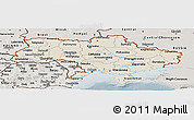 Shaded Relief Panoramic Map of Ukraine, semi-desaturated