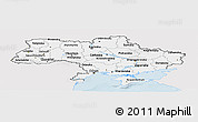 Silver Style Panoramic Map of Ukraine, single color outside