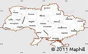 Classic Style Simple Map of Ukraine, cropped outside