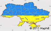 Flag Simple Map of Ukraine, flag centered