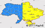 Flag Simple Map of Ukraine, flag rotated