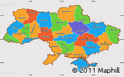 Political Simple Map of Ukraine, cropped outside