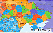 Political Simple Map of Ukraine, political shades outside