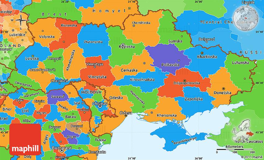 Political Simple Map Of Ukraine - Ukraine political map