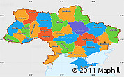 Political Simple Map of Ukraine, single color outside