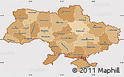 Political Shades Simple Map of Ukraine, cropped outside