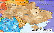 Political Shades Simple Map of Ukraine