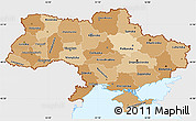 Political Shades Simple Map of Ukraine, single color outside