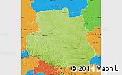 Physical Map of Vinnyts'ka, political outside