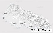 Silver Style 3D Map of Zakarpats'ka, single color outside