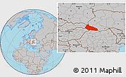 Gray Location Map of Zakarpats'ka