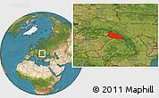 Satellite Location Map of Zakarpats'ka