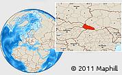 Shaded Relief Location Map of Zakarpats'ka