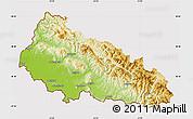 Physical Map of Zakarpats'ka, cropped outside