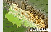Physical Map of Zakarpats'ka, darken